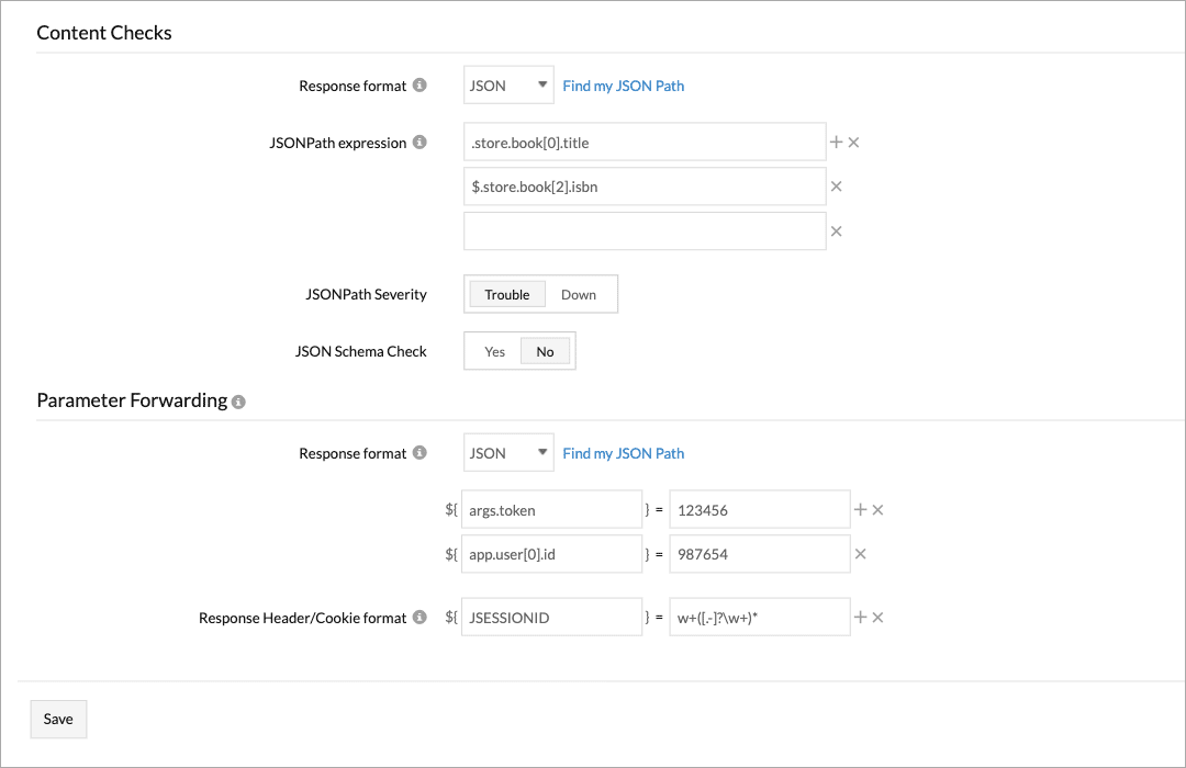 A form displaying labels and corresponding input fields for testing API response