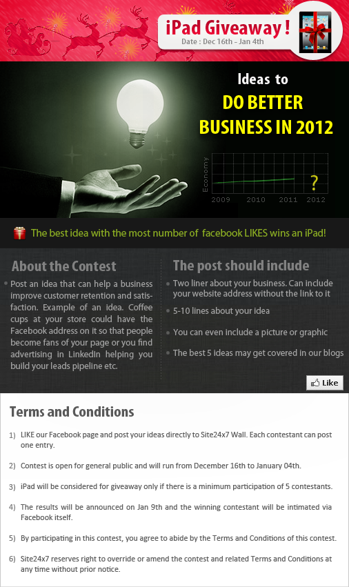 Share a business idea and win an iPad! Go to our Facebook page, like our Facebook page and share your business idea for 2012 and gather the most number of likes to stand a chance to win an iPad. For more information, visit our Facebook page at www.facebook.com/Site24x7