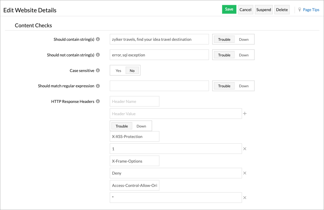 A form dispalying labels and corresponding input fields for content checks