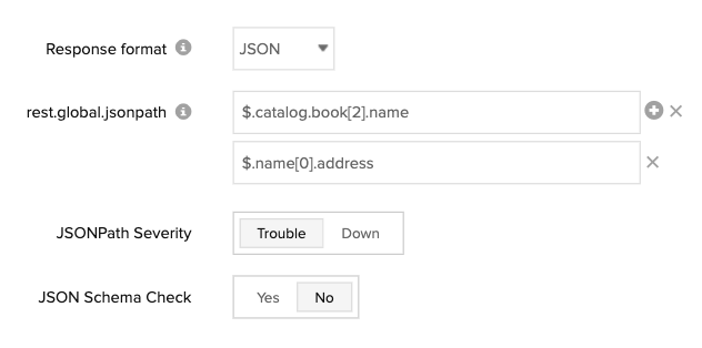 Form control elements to configure JSON response checks