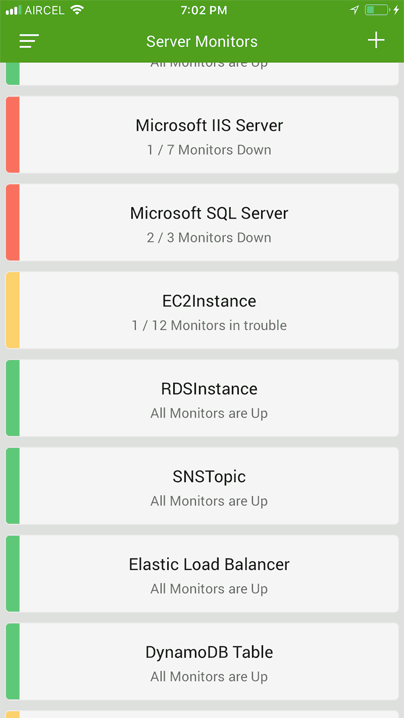 mobile app monitor list screen